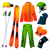 Skiing equipment, sport tools collection. Vector flat icons of skis and poles, helmet, glasses, uniform or protective clothing of skier. Sport accessories, realistic set. Winter sport.