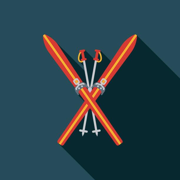 illustrations, cliparts, dessins animés et icônes de icône de suisse ski design plat - ski