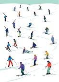 Seasonal winter scene with skiers. Loads of detail. CS3, CS5 and freehand in zip.