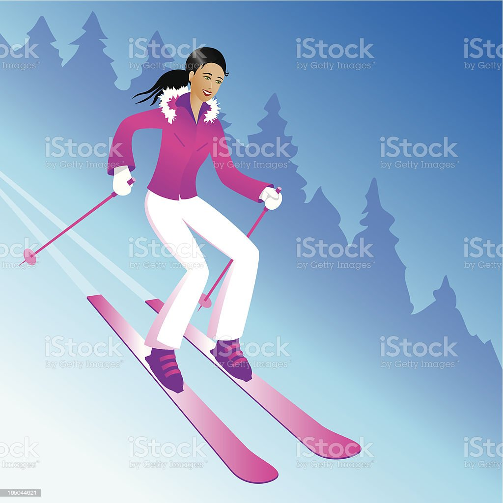 Skiing girl royalty-free skiing girl stock vector art & more images of adult