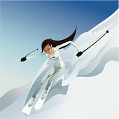 skiing girl
