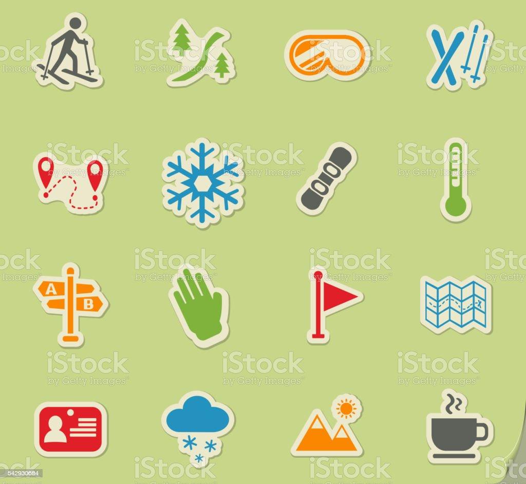skiing icon set vector art illustration