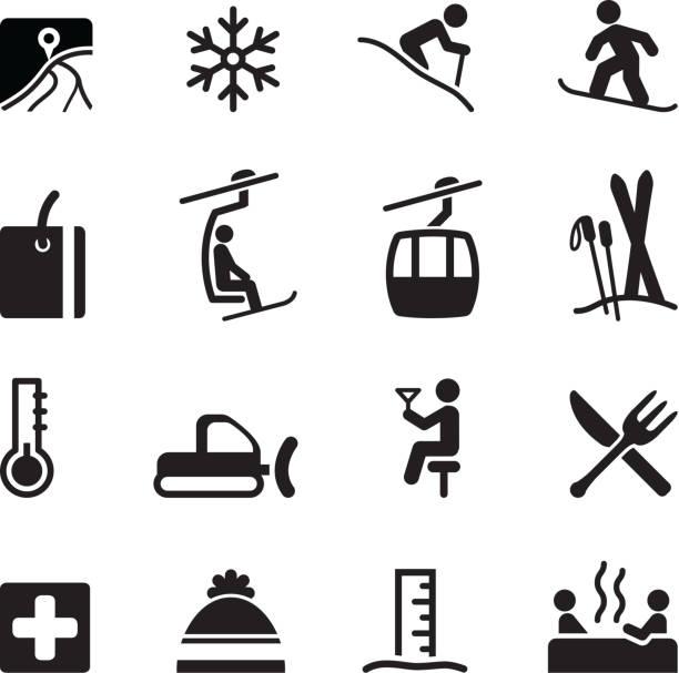 illustrazioni stock, clip art, cartoni animati e icone di tendenza di icone di sci - ski
