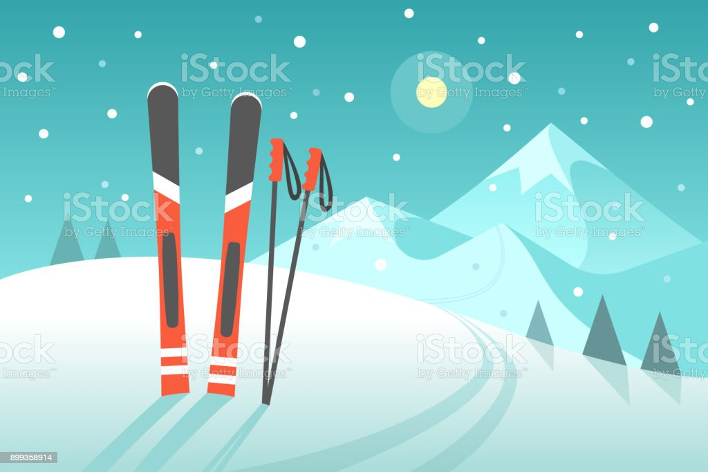 Skiing in the mountains. vector art illustration