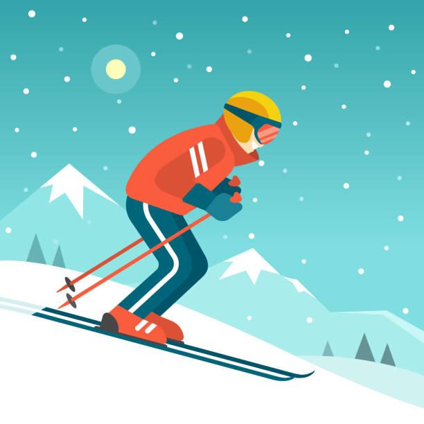 skifahren in den bergen. - skifahren stock-grafiken, -clipart, -cartoons und -symbole