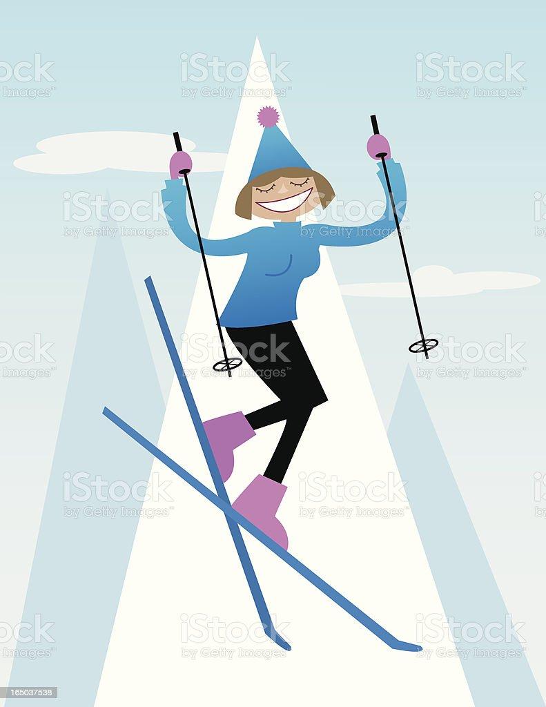 Skiing Lady royalty-free stock vector art