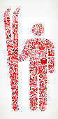 Skiing  Medical Rehabilitation Physical Therapy. The medical and rehabilitation icons fill in the main object and form a seamless pattern. The individual icons vary in shade of the red color and scale. They are carefully arranged together and completely fill the outline of the main shape. The icons include such Medical Rehabilitation Physical Therapy icons as medical supplies, first aid kit, people and therapist images and many more icons.