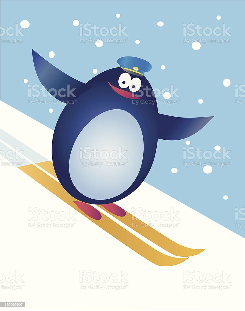 skiing penguin royalty-free stock vector art