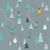 Winter season background people vector illustration flat design