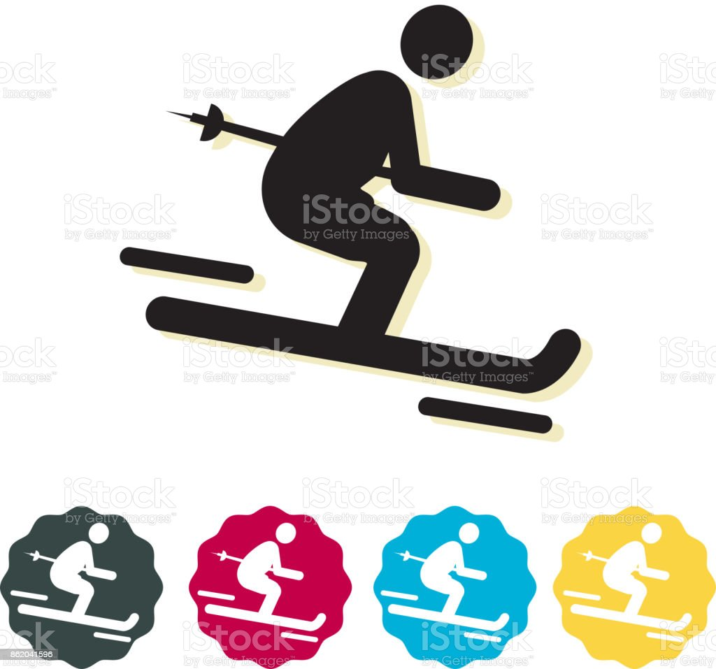 Skiing Snow Winter Sports Icon Illustration as EPS 10 File