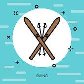 Skiing Thin Line Switzerland Icon