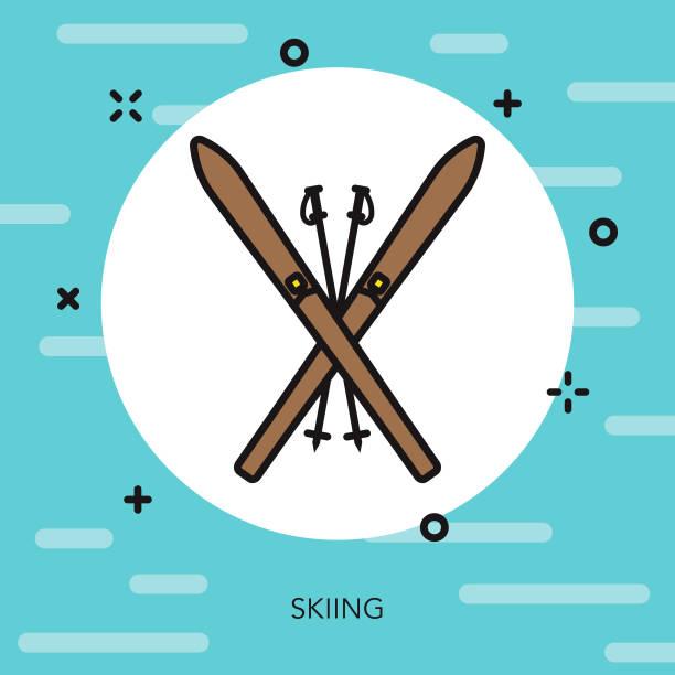 skiing thin line switzerland icon - thin line fonts stock illustrations