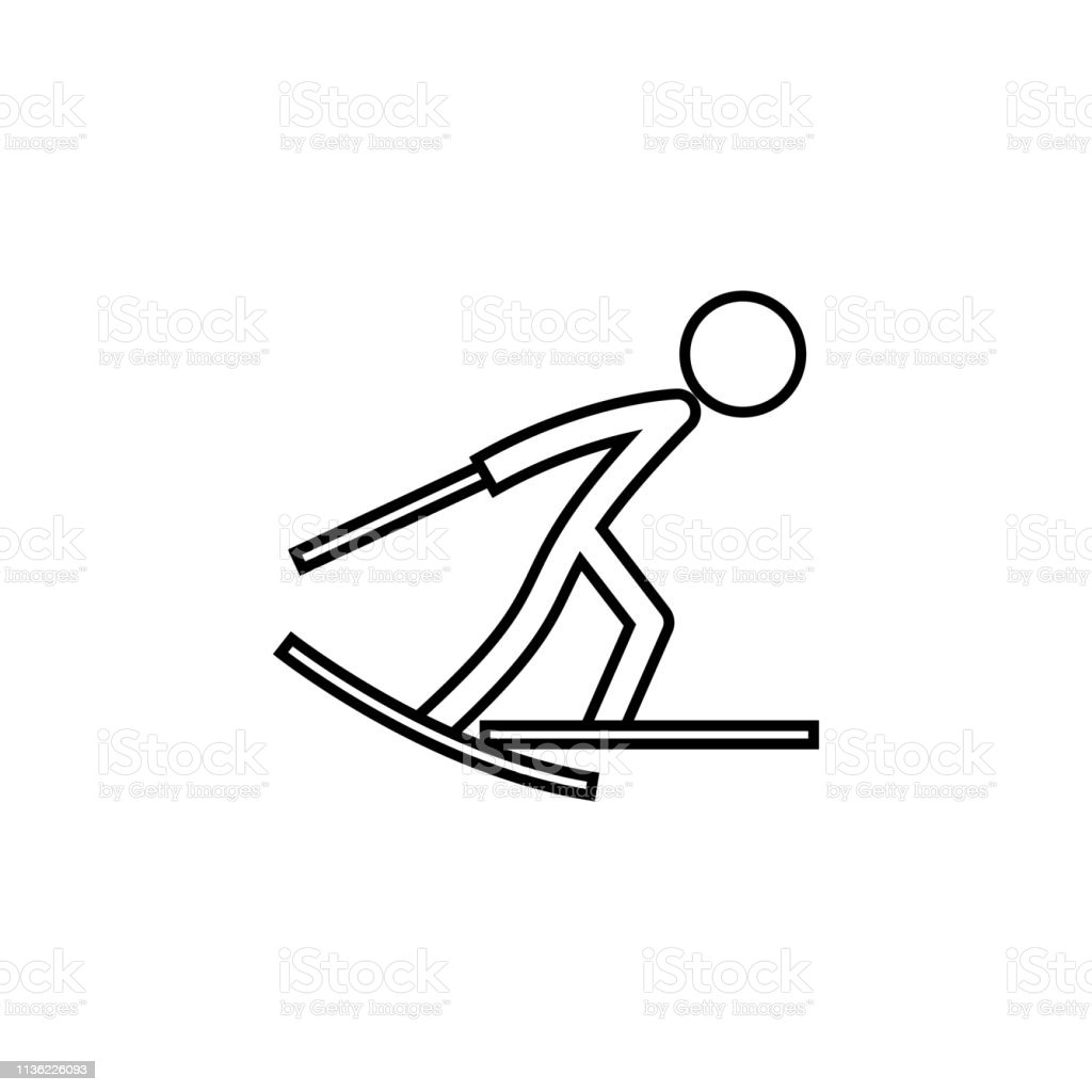 skiing, winter, sport outline icon. Element of winter sport...