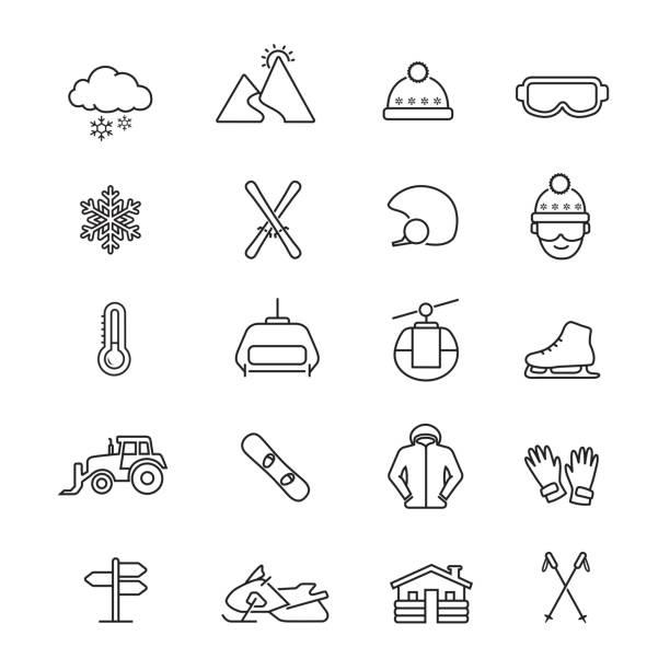 ilustraciones, imágenes clip art, dibujos animados e iconos de stock de esquí iconos de la línea de deportes de invierno - mountain top