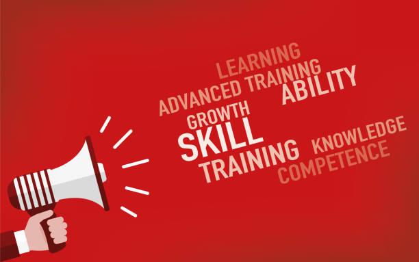 ilustraciones, imágenes clip art, dibujos animados e iconos de stock de concepto de habilidad - training