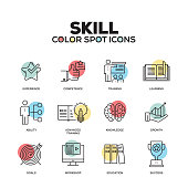 Skill icons. Vector line icons set. Premium quality. Modern outline symbols and pictograms.