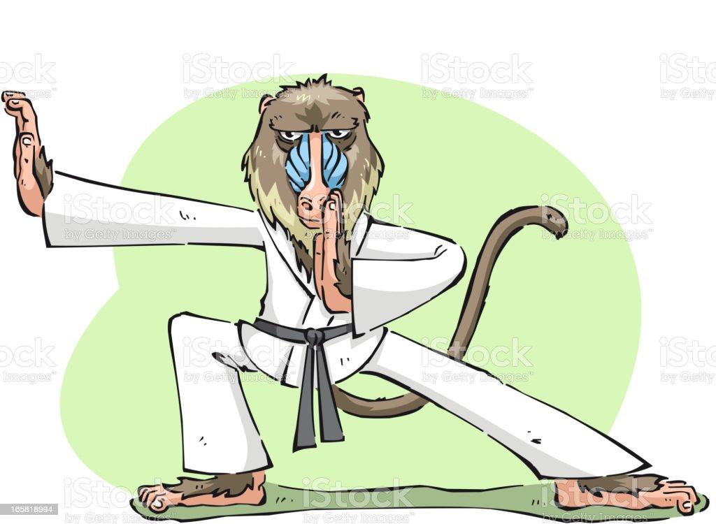 Habilidosos Karate Mandril monkey ape ficar concentrada pronto para a Luta - ilustração de arte em vetor