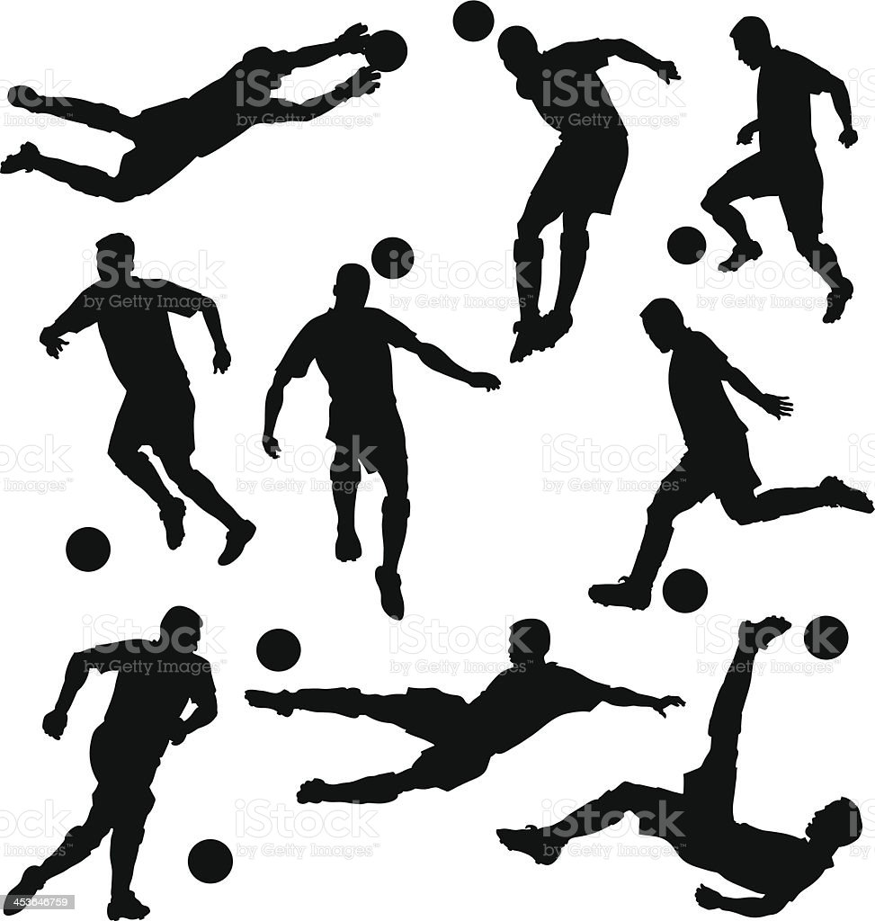 Skilled Soccer Players Silhouettes vector art illustration