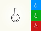 Skillet Black Stroke Linear Icon. This royalty free vector illustration is featuring a black outline linear icon on a light background. The stroke is editable and the width of the line can be easily adjusted. The icon can also be converted to have a black fill color. The download includes 3 additional versions of this icon on blue, green and red background.