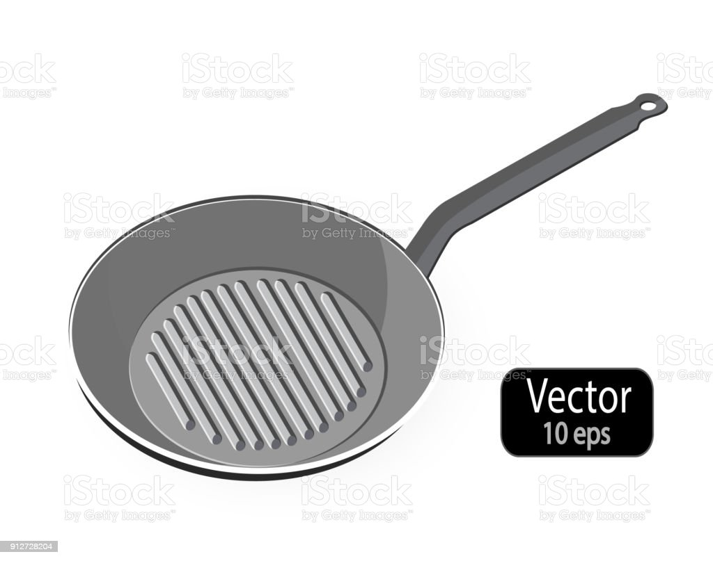 Skillet Empty Frying Pan Grill Isolated On White Background Kitchen ...