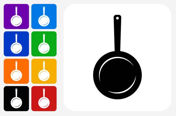 Skillet Icon Square Button Set vector art illustration