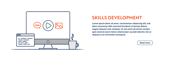 Skills Development Concept with Line Computer Illustration with Editable Stroke.