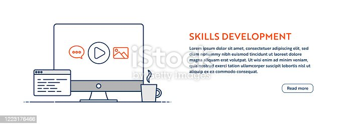 istock Skills Development Concept with Line Computer Illustration with Editable Stroke. 1223176466