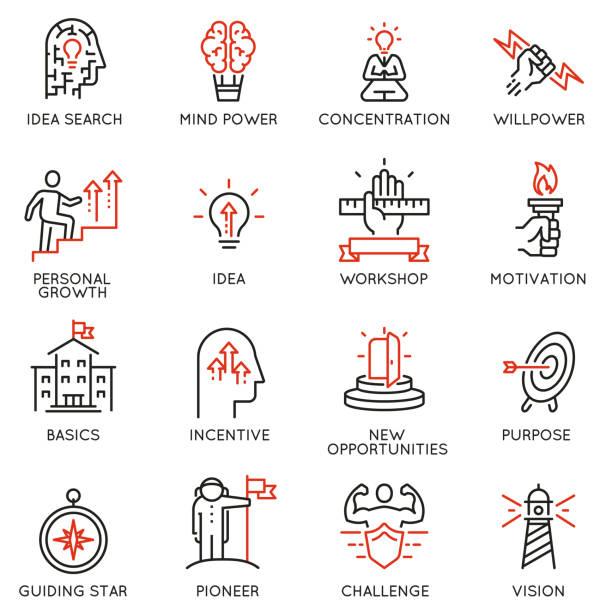 ilustrações, clipart, desenhos animados e ícones de competências, desenvolvimento de liderança de empoderamento, qualidades de um líder ícones-parte 2 - explorador