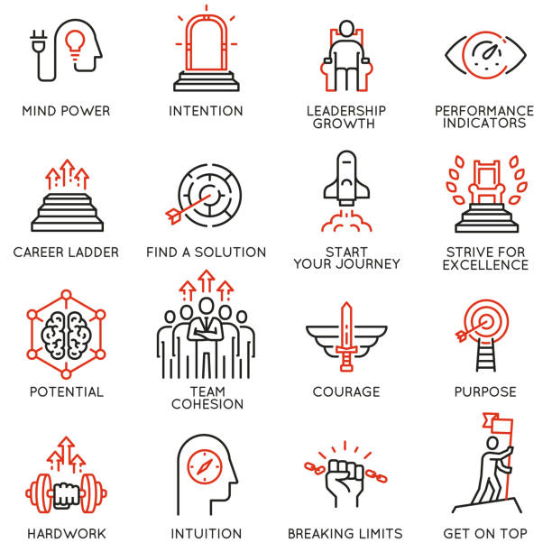 Skills, empowerment leadership development, qualities of a leader -part 3 Vector set of linear icons related to skills, empowerment leadership development, qualities of a leader and willpower. Mono line pictograms and infographics design elements - part 3 attitude stock illustrations