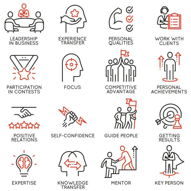 Skills, empowerment leadership development, qualities of leader icons -part 5 Vector set of linear icons related to skills, empowerment leadership development and qualities of a leader. Mono line pictograms and infographics design elements - part 5 confidence stock illustrations