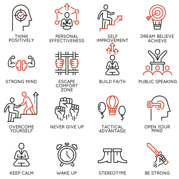 skills, empowerment leadership development, qualities of leader icons -part 4 - autorytet stock illustrations