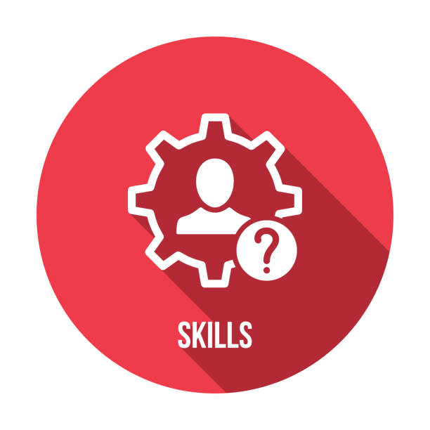 Skills icon with question mark. Skills icon and help, how to, info, query symbol. Vector icon vector art illustration