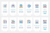 Skills of successful businessman leader vector illustration. UX, UI onboarding mobile app page screen set with line ambition concentration and time management, positive emotions knowledge growth