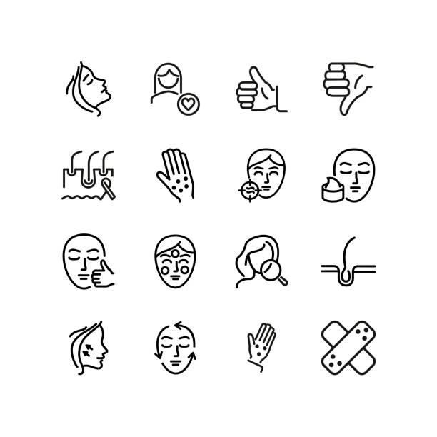 ilustraciones, imágenes clip art, dibujos animados e iconos de stock de conjunto de iconos de piel y línea facial - dermatología