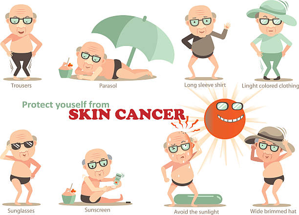 skin cancer - old man glasses stock illustrations, clip art, cartoons, & icons