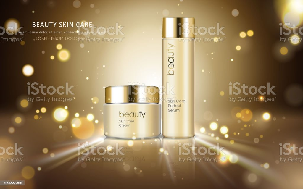 Skin care cosmetic ads vector art illustration