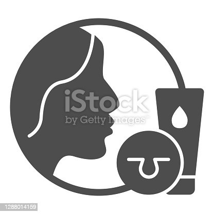 istock Skin care cream and face solid icon, makeup routine concept, cosmetic products sign on white background, Girl face and skin pores with ointment icon in glyph style. Vector graphics. 1288014159