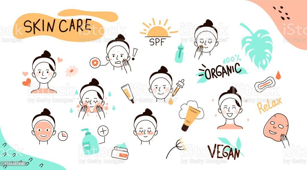 Hautpflege Doodles - Lizenzfrei Abbürsten Vektorgrafik