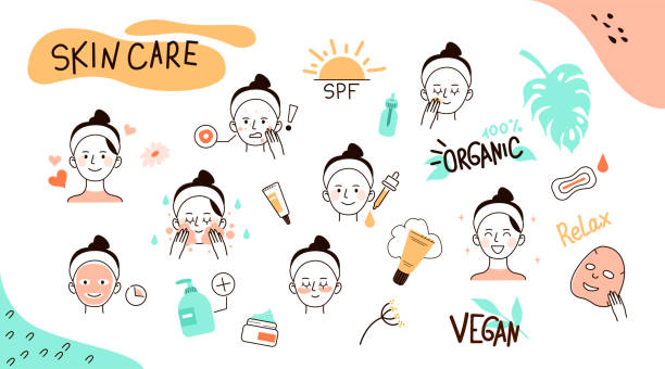 stockillustraties, clipart, cartoons en iconen met huidverzorging doodles - skincare