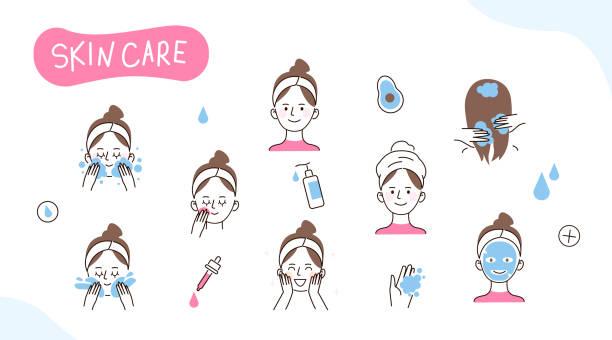 ilustrações, clipart, desenhos animados e ícones de doodles do cuidado de pele - limpando rosto