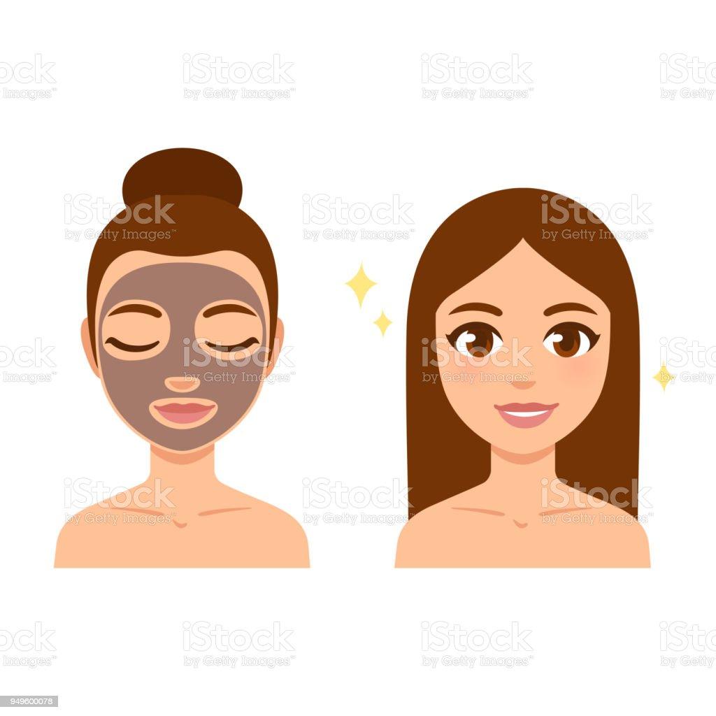 Máscara de pele cuidados - ilustração de arte em vetor