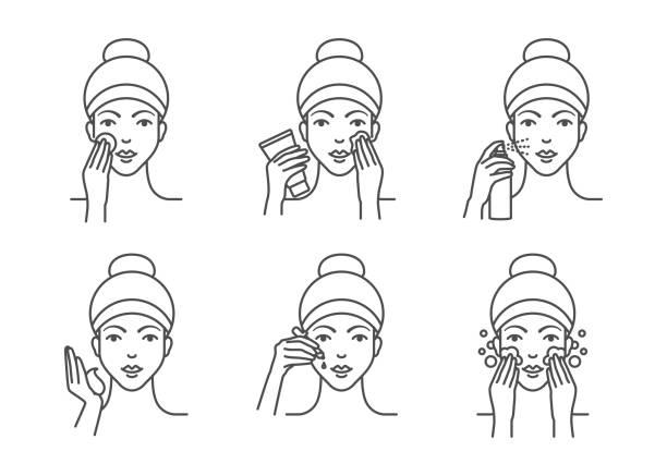 ilustrações, clipart, desenhos animados e ícones de cuidados com a pele, os procedimentos de limpeza facial - limpando rosto