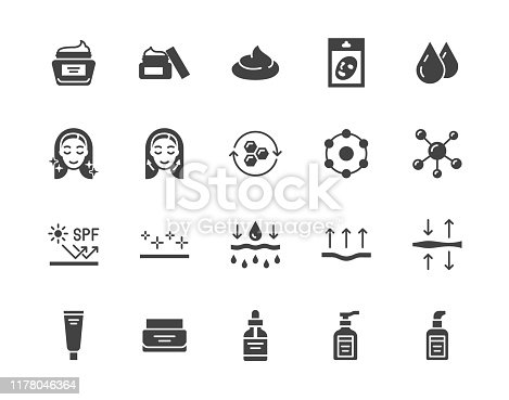 Skin care flat glyph icons set. Moisturizing cream, anti age lifting face mask, spf whitening gel vector illustrations. Signs for cosmetic product package. Silhouette pictogram pixel perfect 64x64.