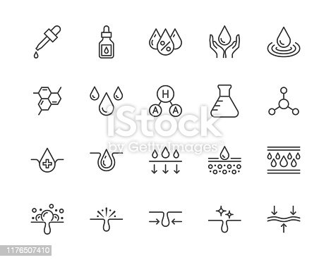 Skin care flat line icons set. Hyaluronic acid drop, serum, anti ageing compound retinol, pore tighten vector illustrations. Outline signs cosmetic product label. Pixel perfect 64x64 Editable Strokes.