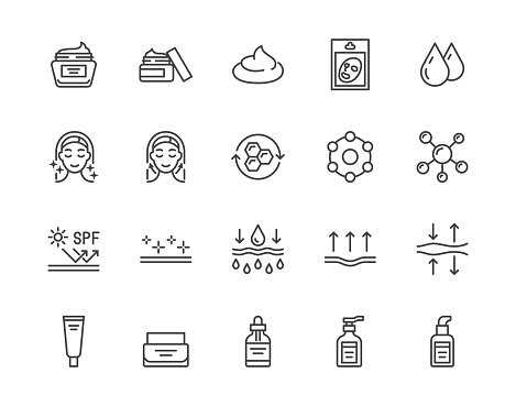 Skin care flat line icons set. Moisturizing cream, anti age lifting face mask, spf whitening gel vector illustrations. Outline signs for cosmetic product package. Pixel perfect 64x64 Editable Strokes
