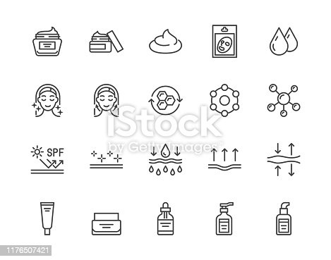 Skin care flat line icons set. Moisturizing cream, anti age lifting face mask, spf whitening gel vector illustrations. Outline signs for cosmetic product package. Pixel perfect 64x64 Editable Strokes.