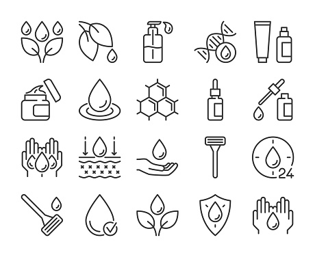 Skin care icon. Natural Skin Care Ingredients line icons set. Editable stroke.