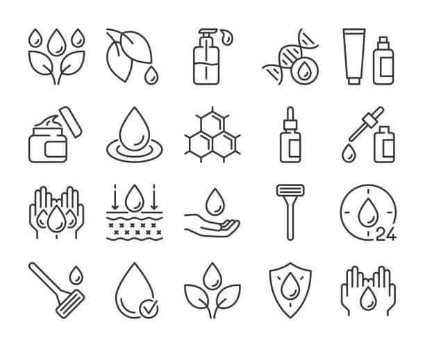 illustrazioni stock, clip art, cartoni animati e icone di tendenza di icona per la cura della pelle. set di icone della linea ingredienti naturali per la cura della pelle. tratto modificabile. - gel per capelli