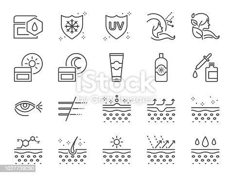 Skin care icon set. Included icons as collagen, medical cosmetic, sunscreen, facial cream, healthy skin, wrinkle and more.