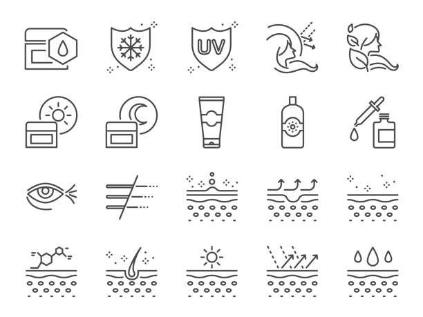 skin care icon set. included icons as collagen, medical cosmetic, sunscreen, facial cream, healthy skin, wrinkle and more. - sun cream stock illustrations